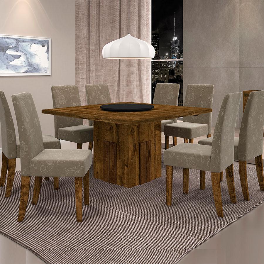 Conjunto mesa armonia con 8 sillas olimpia dj malbec tex for Sillas comedor beige