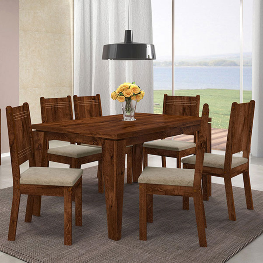 Conjunto mesa bella con 6 sillas new romana dj malbec tex for Comedor 6 sillas coppel