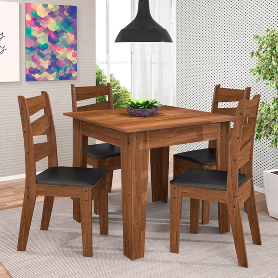 Conjunto mesa isis con 4 sillas isis celta almendra negro for Mesa con sillas dentro