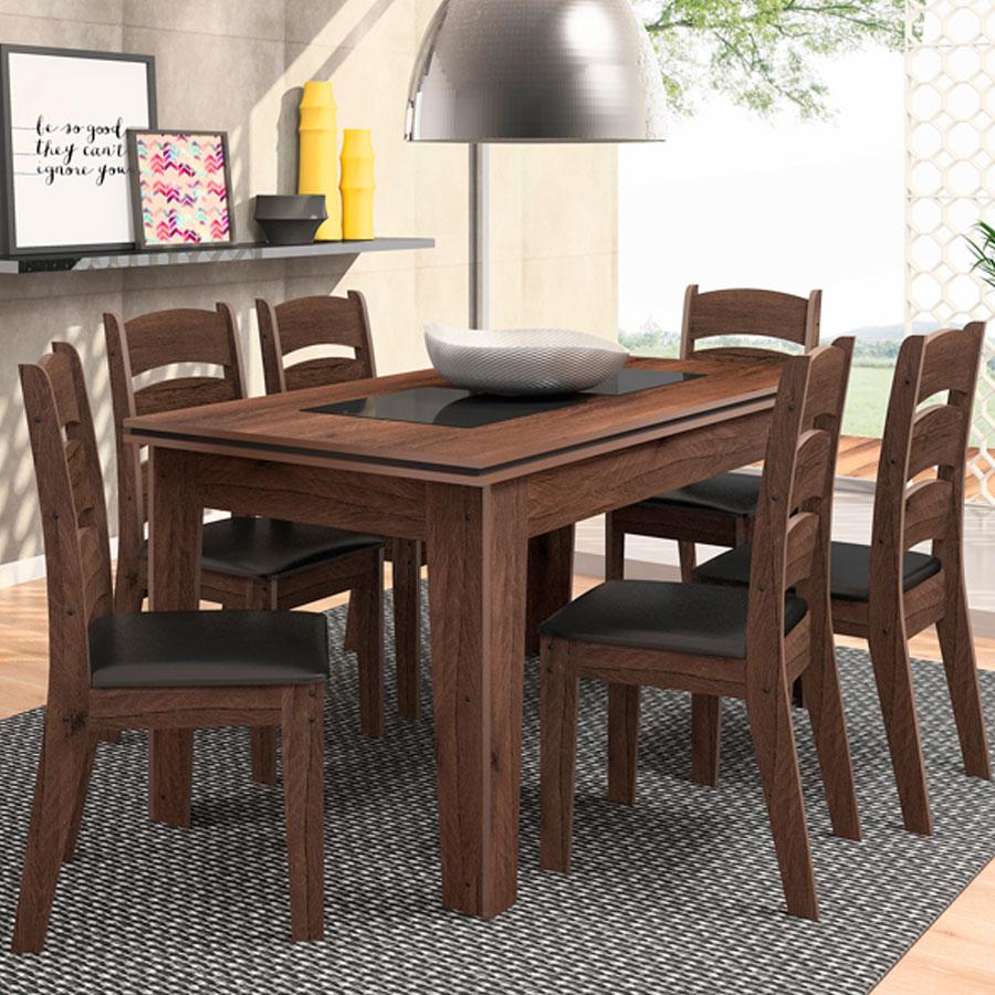 Conjunto mesa milena 6 sillas monique celta ebano negro for Mesa de comedor 6 sillas