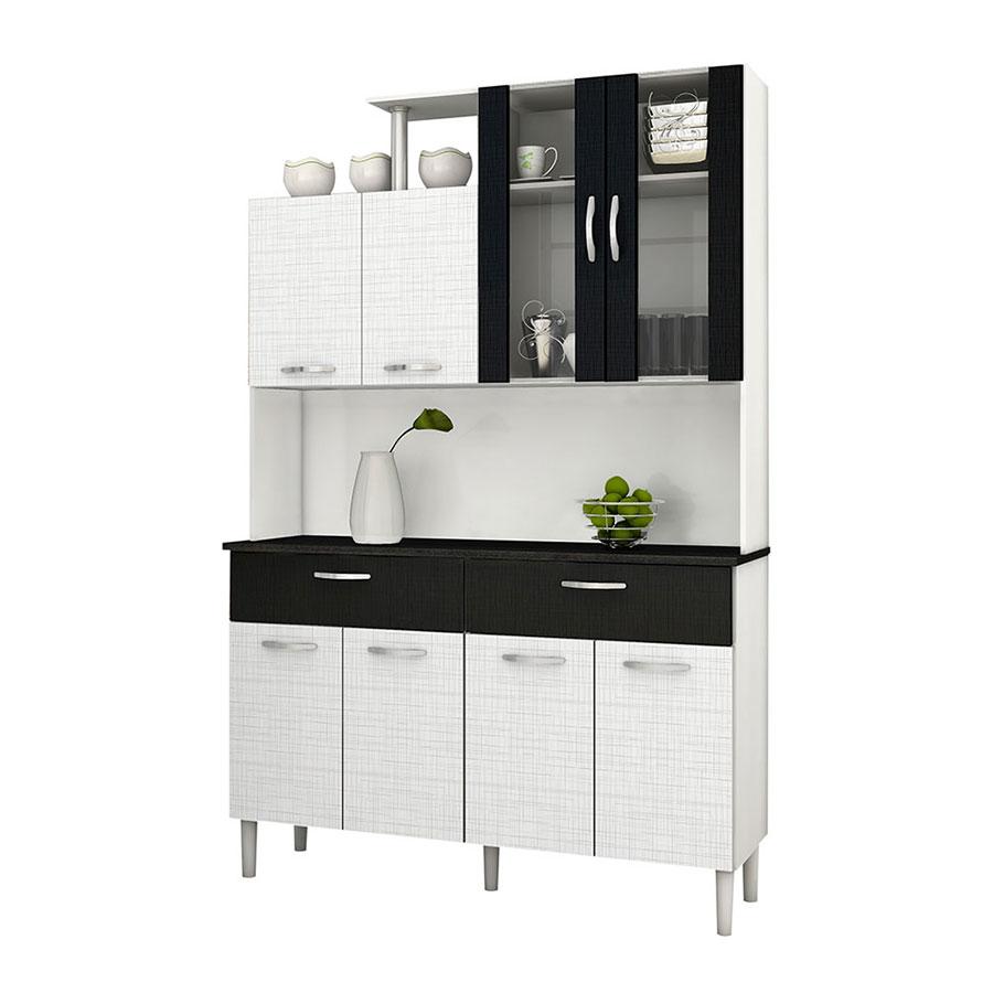 Kit cocina olimpo 8 puertas kits paran blanco tex negro for Comprar muebles de cocina en kit