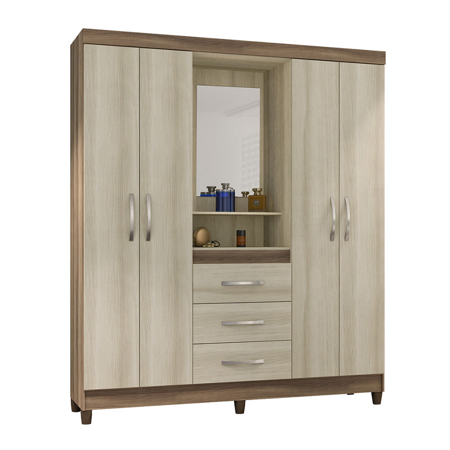 Ropero 4 puertas capelinha con espejo notavel ipe tex for Roperos de madera para dormitorios