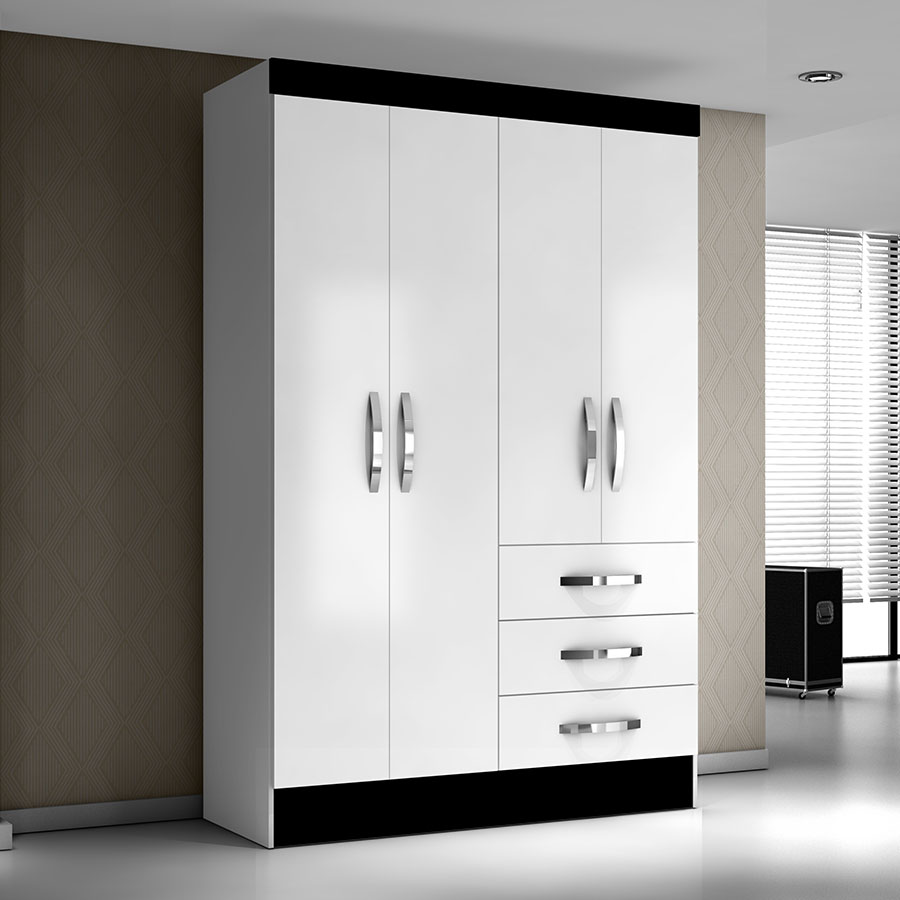 Ropero 4 puertas sino moval blanco flex abba import export for Roperos para dormitorios modernos