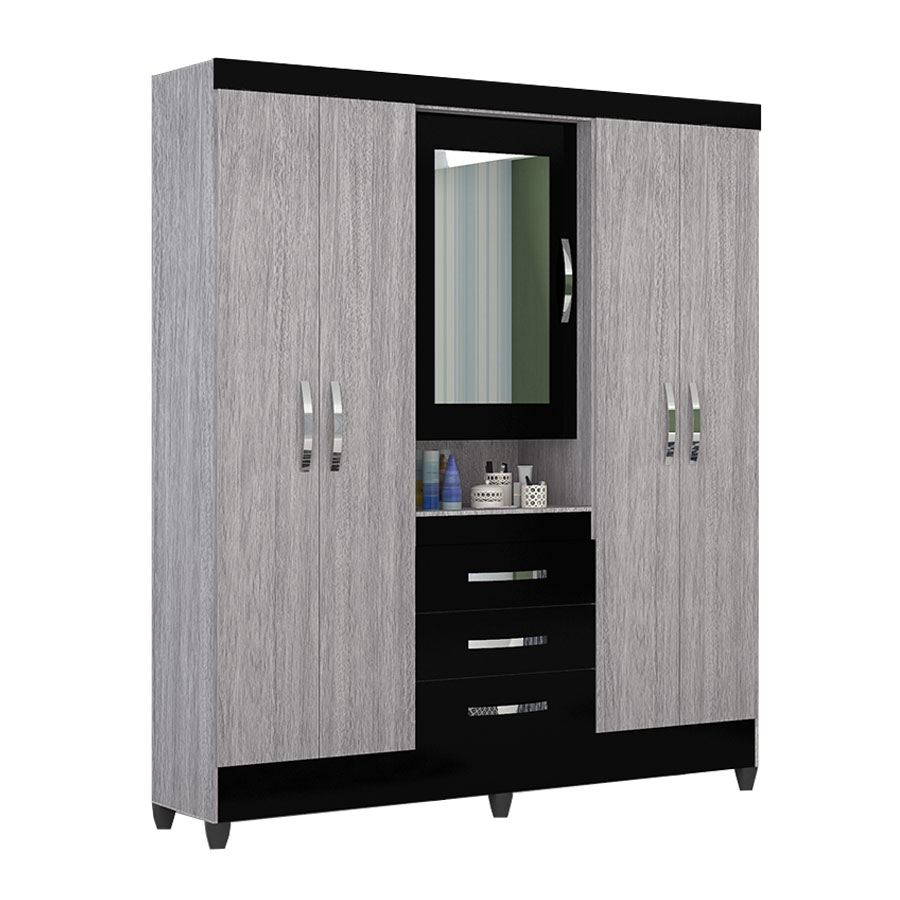 Ropero 5 puertas peru con espejo moval gris negro abba for Roperos de melamina para dormitorios