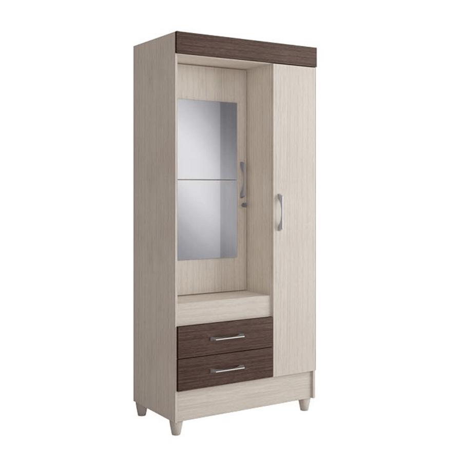 Ropero 2 puertas montreal con espejo visao aspen ebano for Puertas con espejo