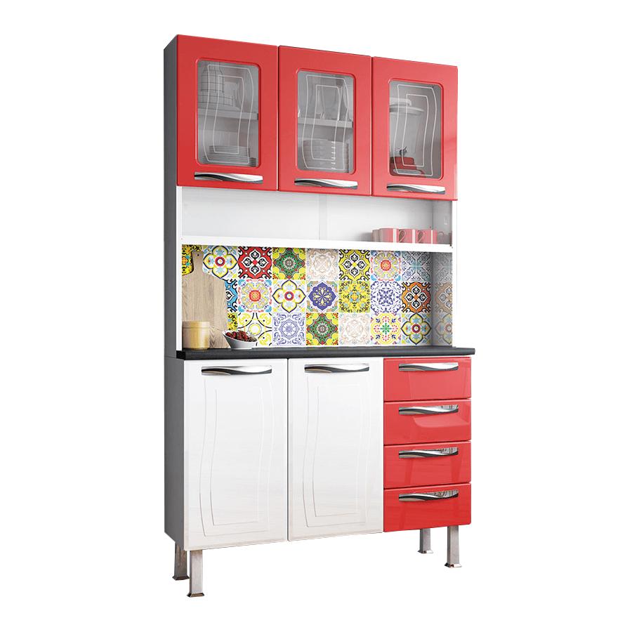 Kit cocina ipanema colormaq blanco rojo abba import export for Mueble utilitario