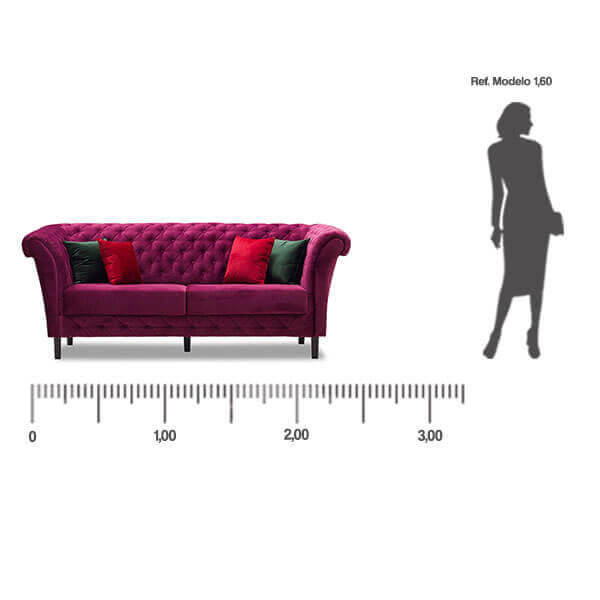 Sofa Classic 3 Lugares medida frontal