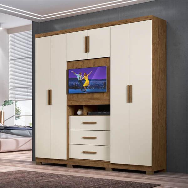 ropero 6 puertas dubai moval castano wood vainilla ambiente abba muebles