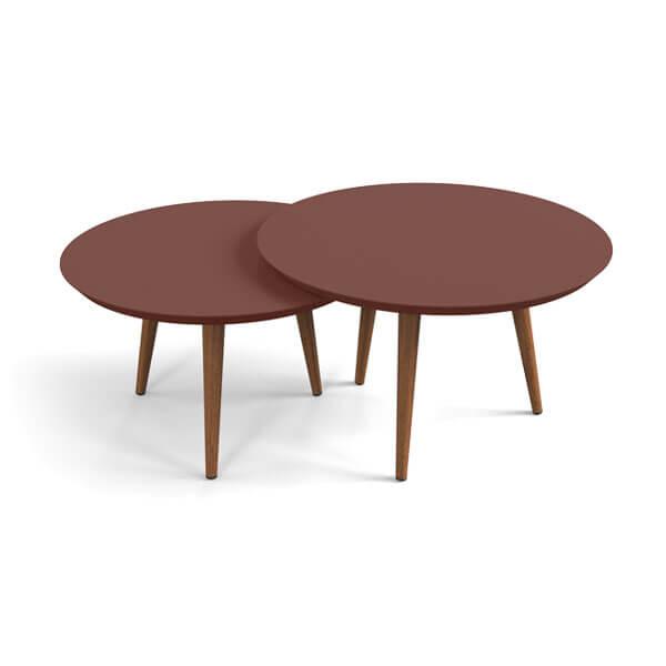 Conjunto mesa centro luna patrimar terracota abba muebles