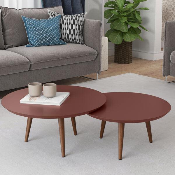 Conjunto mesa centro luna patrimar terracota ambiente abba muebles